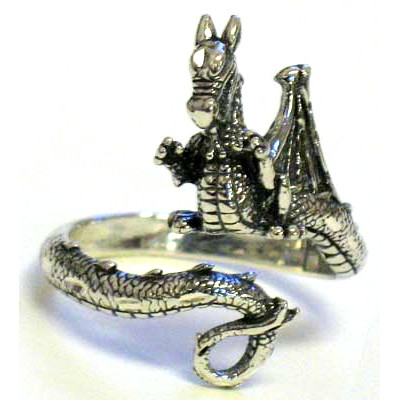 Adjustable Dragon Ring - Sterling Silver