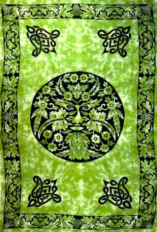 "Green Man Pagan Tapestry 72"" x 108"""