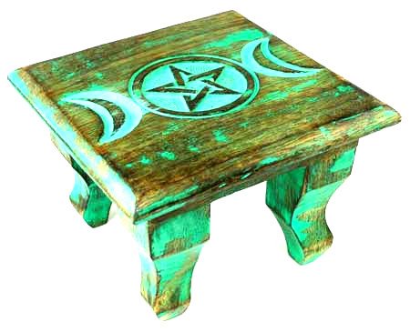 Mini Antique Style Pagan Altar with Triple Moon