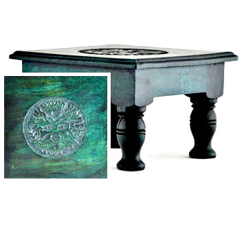Portable Pagan Altar Table with Green Man