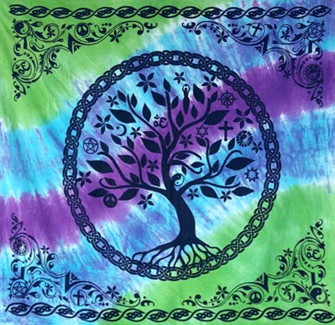 Tie-dye Tree of Life Altar Cloth 36""