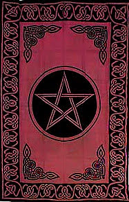 "Wiccan Pentagram Tapestry, Red 72""x108"""