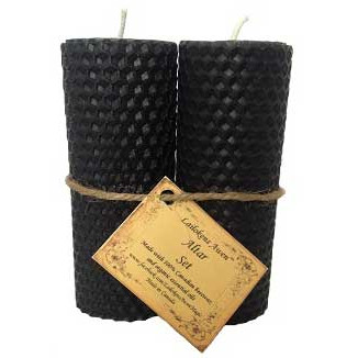 Pair of Black Beeswax Pillar Candles
