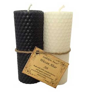 Pair of Black and White Beeswax Pillar Candles