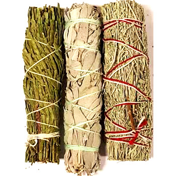 Cedar, White and Blue Sage Smudge Pack - Click Image to Close