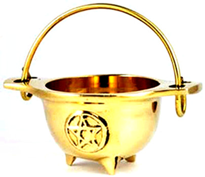 Mini Brass Pentagram Cauldron 3""