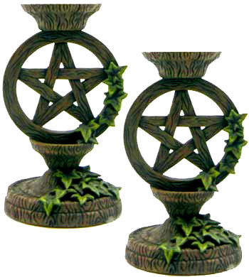 Pentagram Taper Candle Holder Set