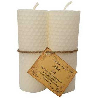 Pair of White Beeswax Pillar Candles