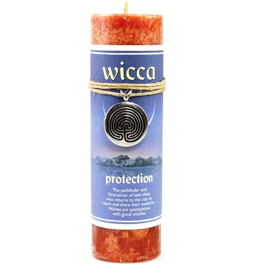 Wicca Protection Spell Candle with Spiral Talisman